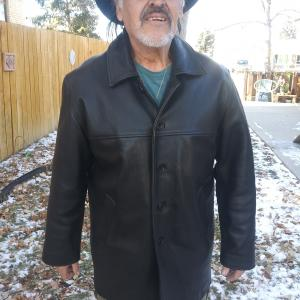 "Photo of  FINE LEATHER COAT BLACK-""TRUCKER"" XL 5-BUTTON QUILTED LINING"