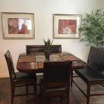 Kitchen/dining table with chairs and benches