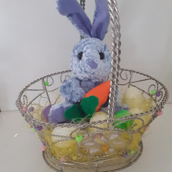 """Photo of 10""""Beaded Wire Easter Basket W/ Grass Eggs And Push Purple Bunny"""
