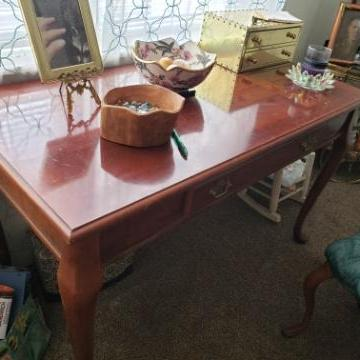 Photo of Antique Library Table with Padded Chair