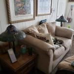 Overstuffed Couch and two solid wood Ashley end tables