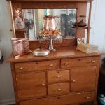 Antique Two Piece Solid Oak Sideboard