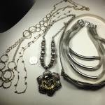 5 Silvertone Vintage Costume Jewelry Necklaces #15031