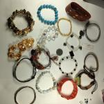 #15035, 16 Vintage Costume Jewelry bracelets, various colors and materials