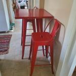 Red Enameled Bar height set