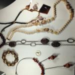 6 Vintage Costume Jewelry Items, Earthtones. Great shape!