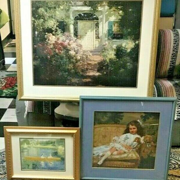 Photo of Three Well Framed Art Prints-- Renoir and others