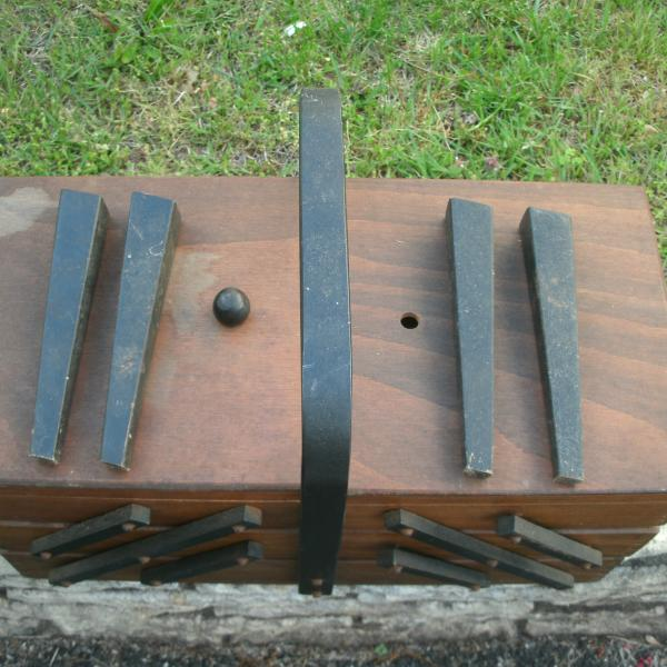 Photo of Vintage Sewing Box--Expandable with Legs--Needs TLC