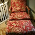 2 matching chairs with ottomans