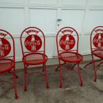 Pair of 4 coco cola metal chairs