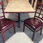 Rectangular table with 2 chairs