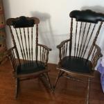 Vintage oak rocker in high-back chairs