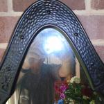 Oval Mirror with black metal frame