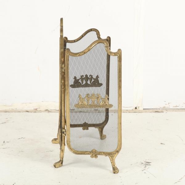 Photo of $200 Ornate Three-Panel Brass Fireplace Screen, Mid-Century