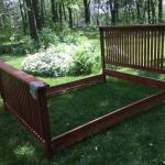Queen Sized Mission Style Oak Finish Bed Frame