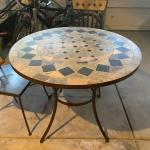 Outdoor metal & stone inlay table & 4 chairs set