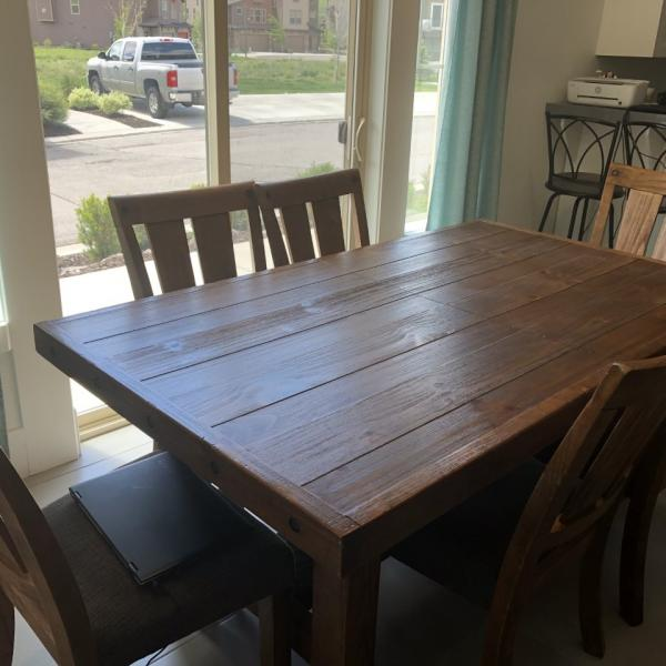 Photo of Dining room set Table ,1 leaf, 6 chairs