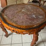 WOOD CARVED TABLE AND 3 CHAIRS