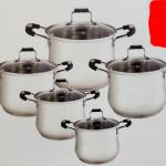 10 pcs stainless steel deep sauce pot with lid