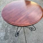 Wrought Iron and Wood  Round Table and 4 chairs