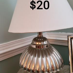 Photo of Silver lamp with White shade