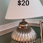 Silver lamp with White shade