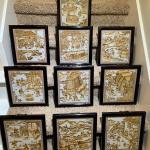 Vintage Asian Framed Tiles Set of 10