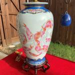 """Asian Koi Vase Lamp - Porcelain with wood base - 33"""""""