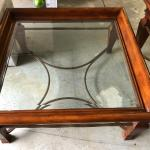 Beautiful Wood, Glass and Iron Coffee Table and End Table