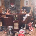 1970's bar set with glass holder wall mount 4 swivel chairs