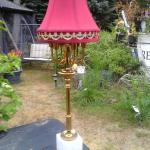 Antique brass and marble electric lamp