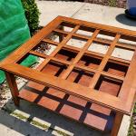 Cherry Wood Coffee Table with Glass Top - Good Condition - Square