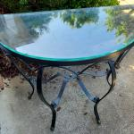 Glass Top Metal Table - Half Circle