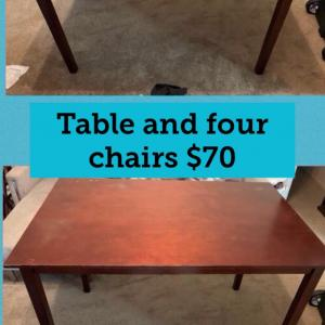Photo of Table and  four chairs