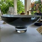 Black and white glass bowl