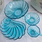 Vintage aqua swirl lunch set