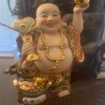 Laughing hand painted lucky buddha
