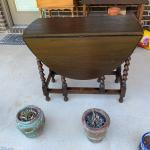 Antique Oak Barley Twist Drop Leaf Gate Leg Table