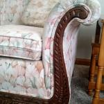 Antique Curved Rolled Arm Sofa with Carved Wood Trim and Claw Legs