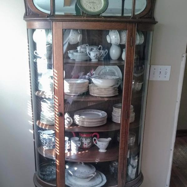 Photo of Antique China Cabinet Hutch with Rounded Glass Sides and Mirror