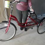 Adult red tricycle with 5 gears, with basket