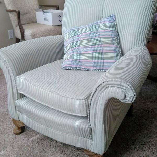 Photo of Light Green Striped Rolled Curved Arm Chair Armchair with Carved Wood Feet