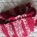Red and cream neck scarf