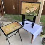 Asian Inspired TV Trays with Stand - Golden Bird Scenes