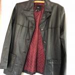 Women's black leather jacket.