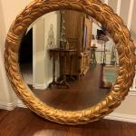 "LARGE Gold Leaf Style Beveled Mirror 48"" Diameter"