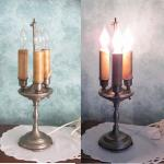 Pewter candleabra table lamp Vintage