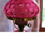 GWTW Fenton Coindot Cranberry Student lamp with marble base Vintage