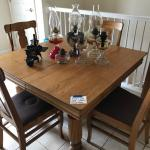 Antique oak 5 leg table and 4 chairs
