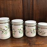 Olive Leaf  Motif set of 4 Ceramic Hinged Kitchen Canisters